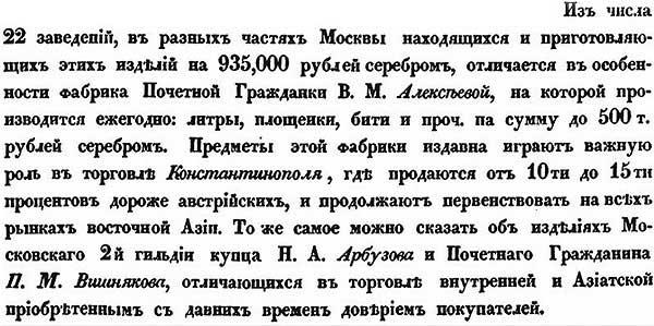 Л. Самойлов. Атлас мануфактурной промышленности Московской губернии // Золотопрядильные и канительные фабрики Москвы в 1843 году.