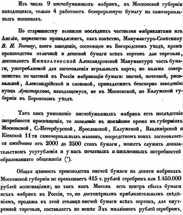 Л. Самойлов, 1845. Писчебумажные фабрики в Московской губернии.