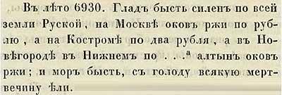 Софийская первая Летопись, 1422. Цены