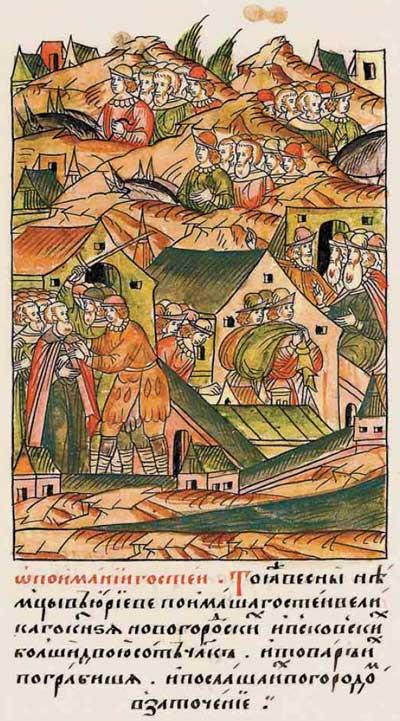 Лицевой летописный свод Ивана IV Грозного. 7009 (1509). Немцы захватили купцов в Юрьеве