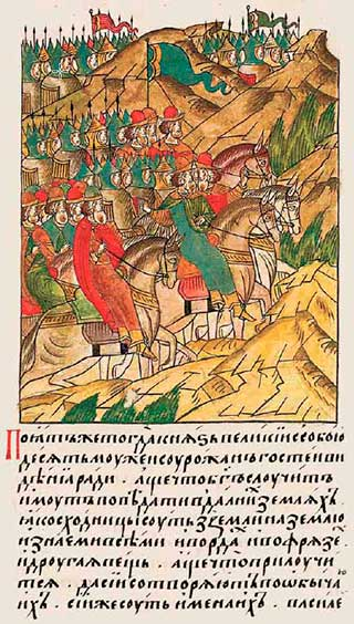 Лицевой летописный свод Ивана IV, 1380. Репортёры Дмитрия Донского на Куликовом поле