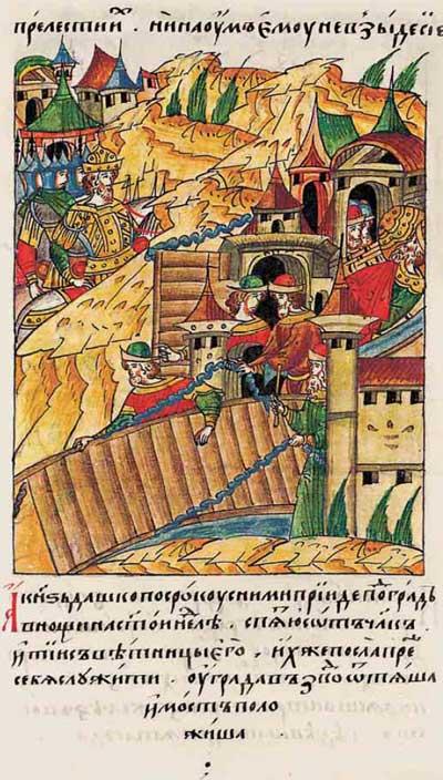 Лицевой летописный свод Ивана IV Грозного. 6926 (1426): Белорусский спецназ при взятии Кременца – фрагмент 3