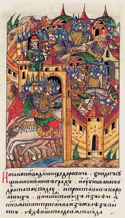 Лицевой летописный свод Ивана IV Грозного. 6926 (1426): Белорусский спецназ при взятии Кременца – фрагмент 4