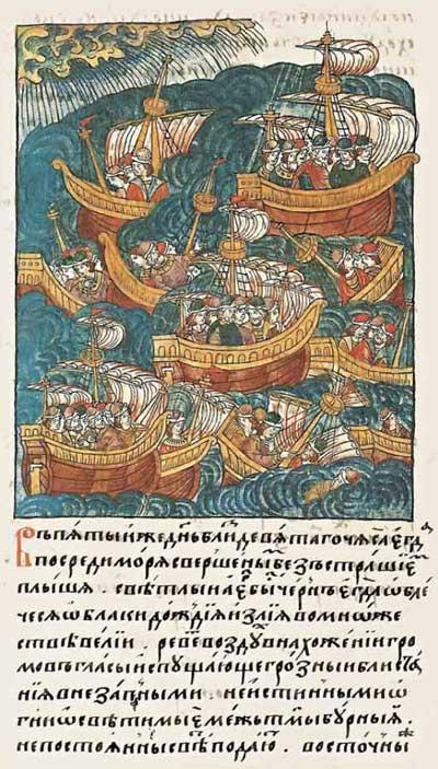 Лицевой летописный свод Ивана IV Грозного. Второе падение Трои. Фрагмент 1