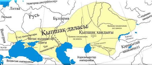 Карта ареала проживания половцев. Википедия