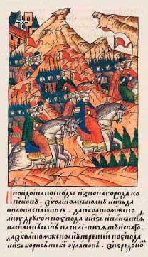 Лицевой летописный свод Ивана IV, 1502. Походный строй войска Ивана III. Шли на ливонцев мстить за захваченных и ограбленных в Юрьеве (Дерпт, Тарту) двух сотен купцов