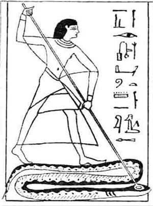 Виньетка - Ану, закалывающий змея. Египет (Отсканировано из: Египетская Книга мёртвых, Папирус Ани Британского музея,— М.: Алетейа, 2003)