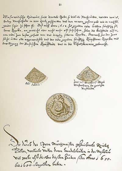 Альбом Мейерберга, 1661-1662. Четверти и перечеканенный талер