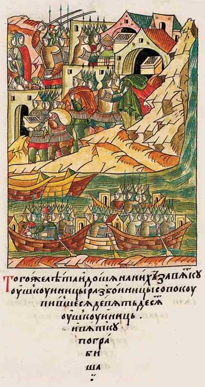 Лицевой летописный свод Ивана IV Грозного. 6882 (1382). Рейд новгородских ушкуйников. Булгары (татарское иго) спасовали – эпизод 1