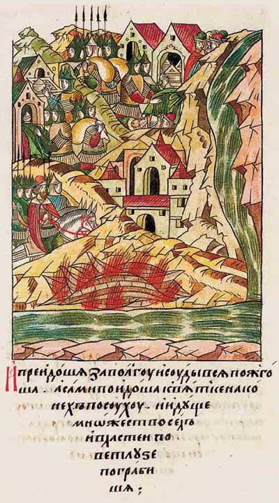 Лицевой летописный свод Ивана IV Грозного. 6882 (1382). Рейд новгородских ушкуйников. Булгары (татарское иго) спасовали – эпизод 4