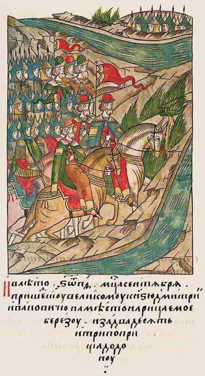 Лицевой летописный свод Ивана IV Грозного. 6889 (1389). Прибытие Дмитрия Донского к переправе