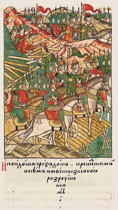 Лицевой летописный свод Ивана IV Грозного. 6889 (1389). Дмитрий Донской сжёг за собой мосты
