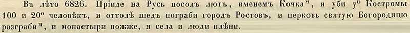 Воскресенская летопись, 1318. Налёт на Кострому