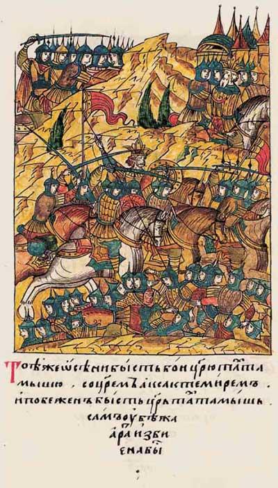 Лицевой летописный свод Ивана IV Грозного. 6901 (1401): Тамерлан, Тохтамыш, немцы в ВКЛ