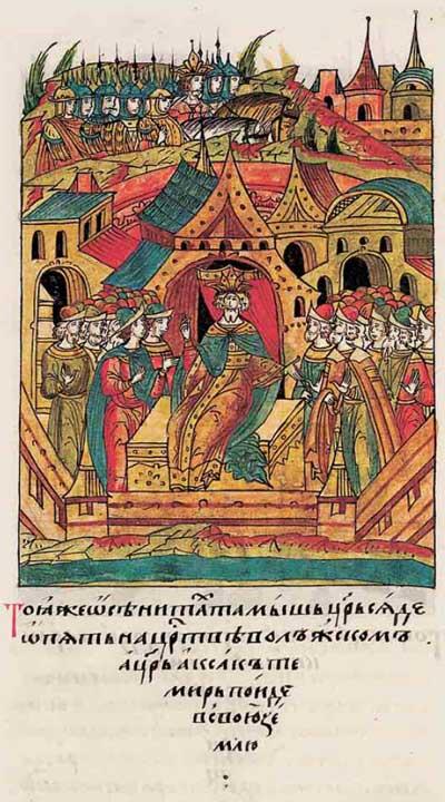 Лицевой летописный свод Ивана IV Грозного. 6901 (1401): Тамерлан, Тохтамыш, немцы в ВКЛ – фрагмент 2