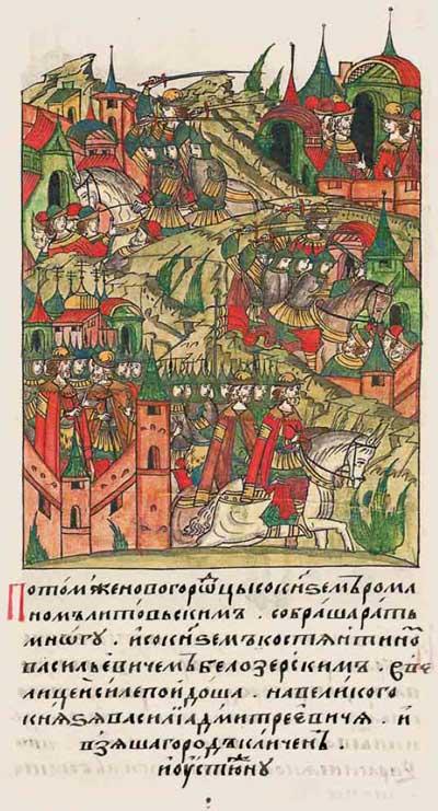 Лицевой летописный свод Ивана IV Грозного. 6901 (1401): Бандитские рейды московитов, белорусов и новгородцев ¬– фрагмент 2