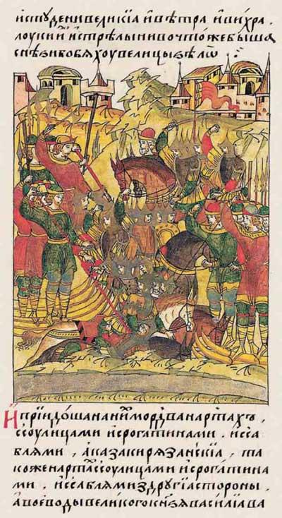 Лицевой летописный свод Ивана IV Грозного. Русь, XV век. Пассионарное напряжение этнической Системы. Акматическая фаза: «Не по-вашему, а по-моему!» «Мы хотим быть великими!», фрагм. 1
