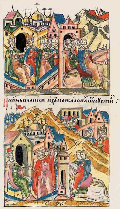 Лицевой летописный свод Ивана IV Грозного. 7004 (1504): Пассионарное напряжение суперэтноса. Фаза надлома. Фрагм. 3