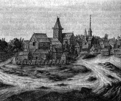 Деревня окрест Новгорода. Н. Витсен, 1664. Австрийская национальная библиотека, Вена