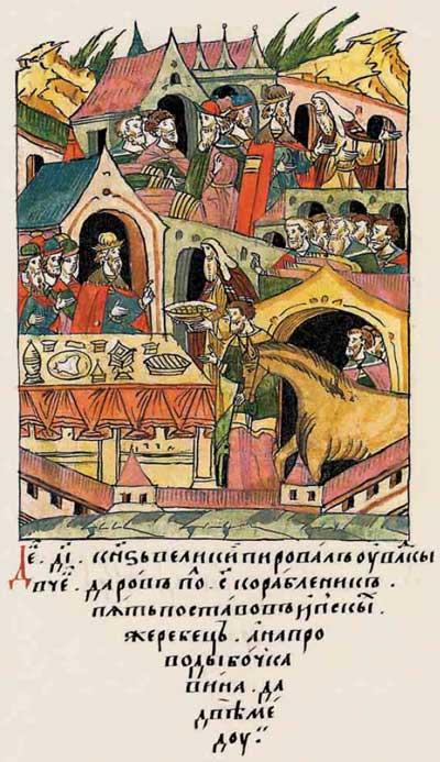 Лицевой летописный свод Ивана IV Грозного. 984 (1484). Силовой шантаж. Иван-московит трясёт новгодоских олигархов. Фантом Ивана-4, фрагм. 3