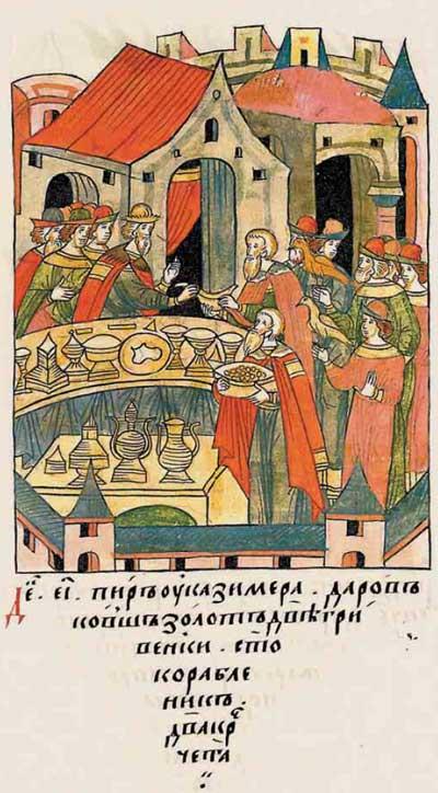 Лицевой летописный свод Ивана IV Грозного. 984 (1484). Силовой шантаж. Иван-московит трясёт новгодоских олигархов. Фантом Ивана-4, фрагм. 4