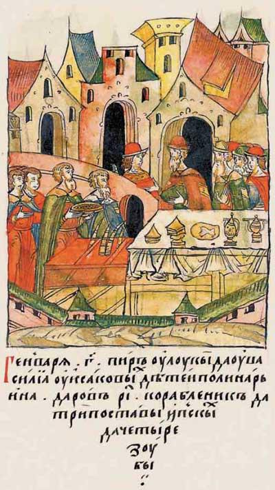 Лицевой летописный свод Ивана IV Грозного. 984 (1484). Силовой шантаж. Иван-московит трясёт новгодоских олигархов. Фантом Ивана-4, фрагм. 5