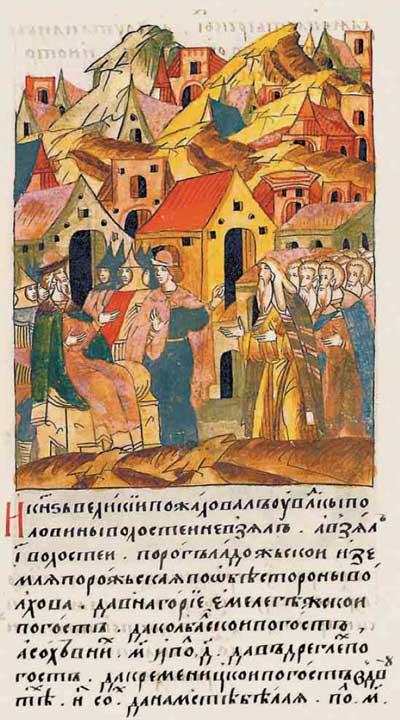 Лицевой летописный свод Ивана IV Грозного. 6986 (1486): Налогооблагаемая база, соха и обжа. Иван-3 устанавливает нормативы налогообложения, фрагм. 1