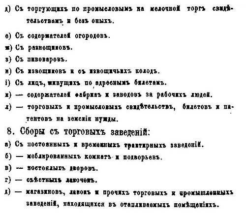 Москва. Номенклатура городских налогов и сборов, 1873 – ч.2.
