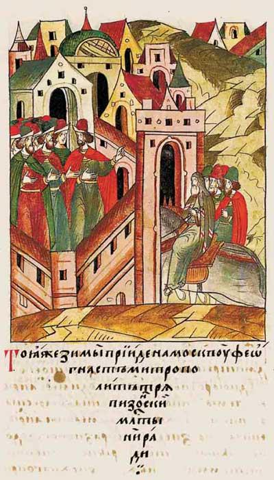Лицевой летописный свод Ивана IV Грозного. 6884 (1384). Финансирование избирательной компании