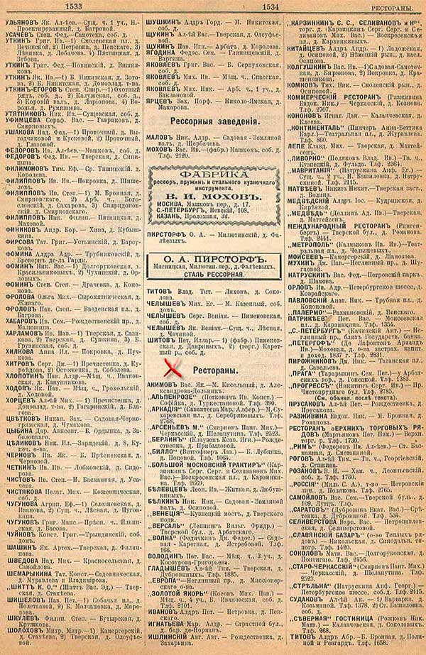 Московские рестораны и кабаки по данным cправочника Вся Москва за 1901 год; часть 1