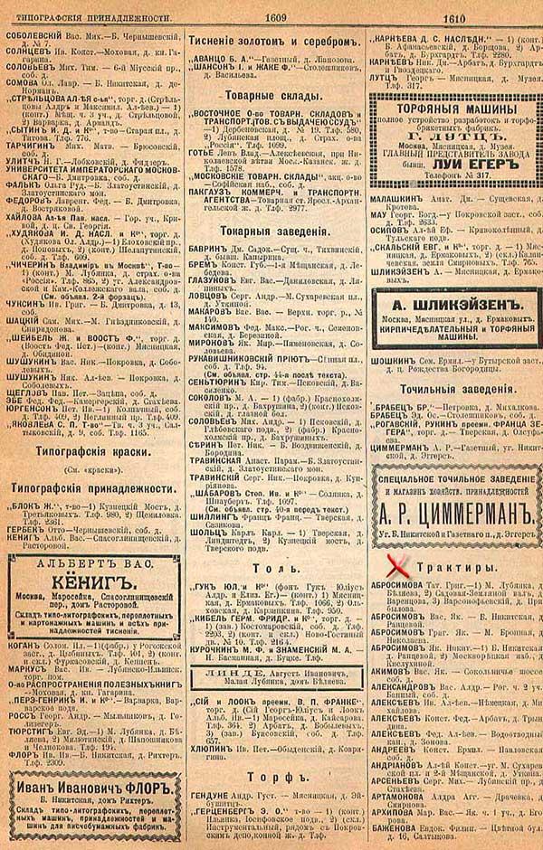 Московские рестораны и кабаки по данным cправочника Вся Москва за 1901 год; часть 3