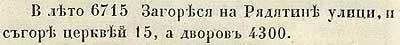Летопись Авраамки, 1207. Пожар начался на Рядятинской улице, сгорело 15 церквей. а дворов 4300