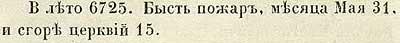 Летопись Авраамки, 1217. 31 мая был пожар, сгорело 15 церквей