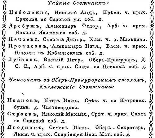 К. Нистрем. Московский адрес-календарь чиновников служащих. 1846 год - ч.2
