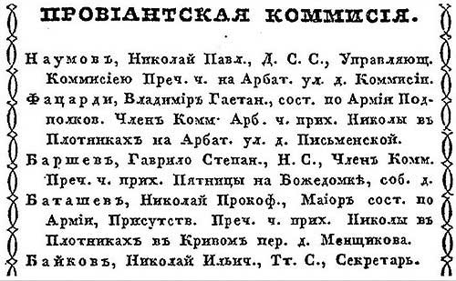 К. Нистрем. Московский адрес-календарь чиновников служащих. 1846 год - ч.3