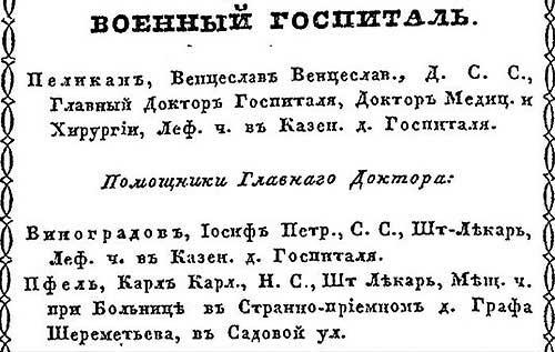 К. Нистрем. Московский адрес-календарь чиновников служащих. 1846 год - ч.4