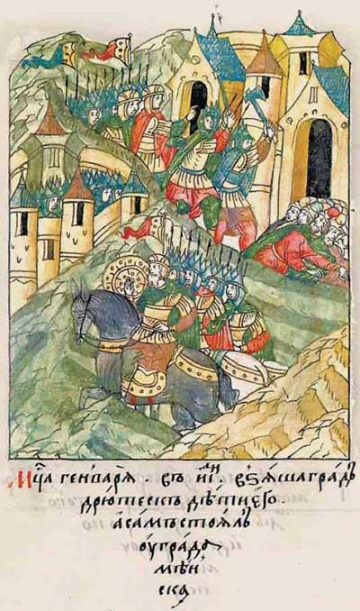 Лицевой летописный свод Ивана IV: Месяца января в 18 день [6623 от Адама / 1123 г. от ВХ] взяли град Друцк дети его, а сам (Владимир Маномах – Прим. ред.) стоял у города Минска