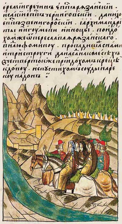 Лицевой летописный свод Ивана IV Грозного. 6897 (1397). Путешествие в Царьград и в Иерусалим – фрагмент 1