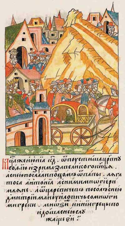 Лицевой летописный свод Ивана IV Грозного. 6980–6981 (1480–1481). Путешествие Софьи Палеолог в Московию, фрагм. 2