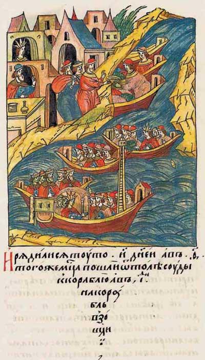 Лицевой летописный свод Ивана IV Грозного. 6980–6981 (1480–1481). Путешествие Софьи Палеолог в Московию, фрагм. 3