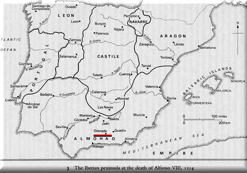 Хадж ибн-Джубайра, 1183-1185. Иберийский полуостров в 1214 г.