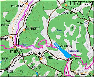 Карта Страсбург - Люцерн, Информационный Геокомплекс