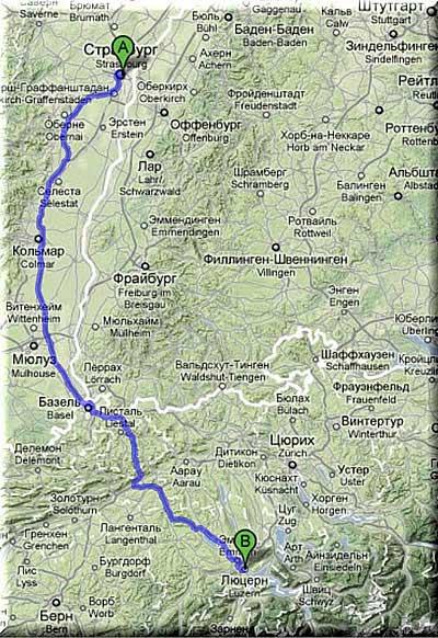 Карта Страсбург - Люцерн, Google