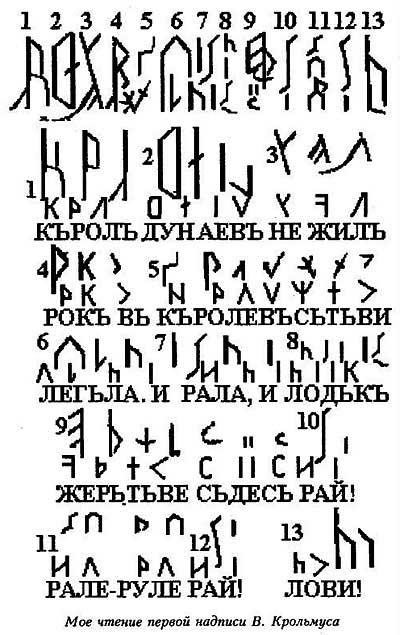 Расшифровка древнеславянского текста на рунице