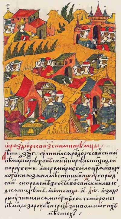 Лицевой летописный свод Ивана IV Грозного. 7063 (1563). О раздоре со шведскими немцами