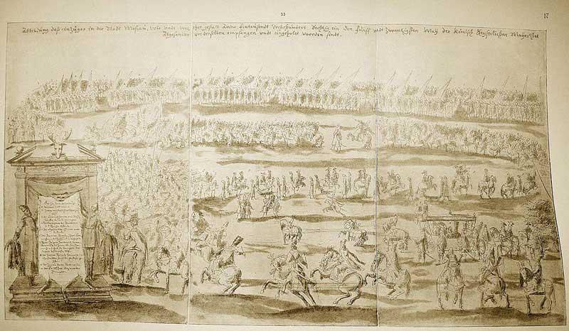 Альбом Мейерберга, 1661-1662. Посольский въезд: «Изображение въезда в город Москву; как его величества императора римскаго посланника 25 мая 1661 года были приняты и проведены в город»