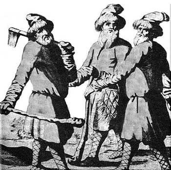 Крестьяне. Гравюра из книги Адама Олеария