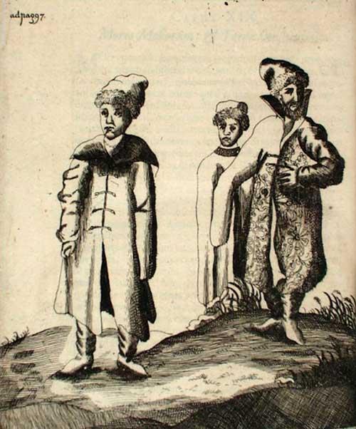 Бернгард Таннер. Иллюстрация к книге. Одежды московитов, 1678