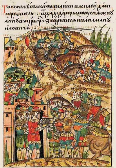 Лицевой летописный свод Ивана IV Грозного. 6919 (1419): Княжна Анна идет замуж за Ивана-царьградского