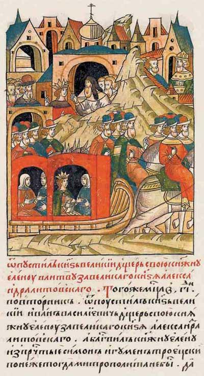 Лицевой летописный свод Ивана IV Грозного. 7003 (1503): сваты из ВКЛ в Московии